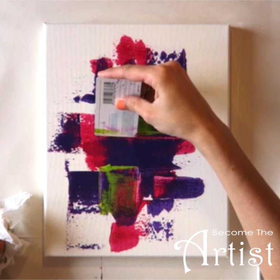 Tuto Peinture Abstraite Facile Avec Une Carte De Credit