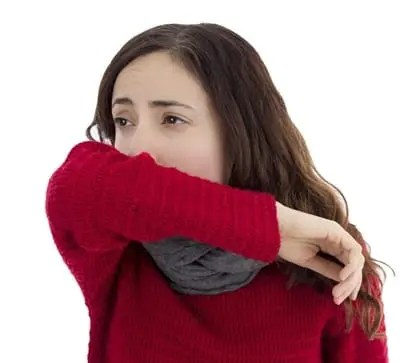 Cough into your elbow if you need to cough or sneeze around your family member to prevent your droplets from spreading.