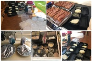 collage of food preparation pictures showing time saving process for food