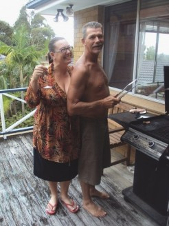 My future in-laws cookin' up brekky on the barbie