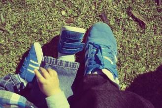 my nephew's matching blue adidas