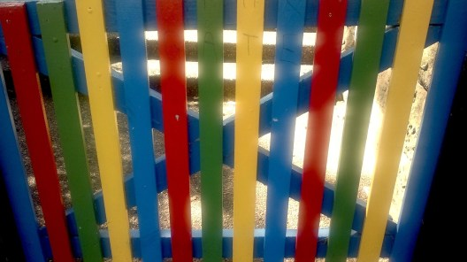 The painted fence at a nearby school
