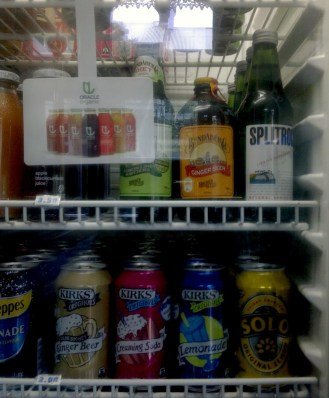 "The variety of beverages sold here. I'm still confused as to why the soda is ""creaming."""