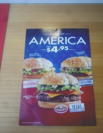 """They actually offer this range of """"American"""" style burgers in Australia: California, New York, and Texas!"""