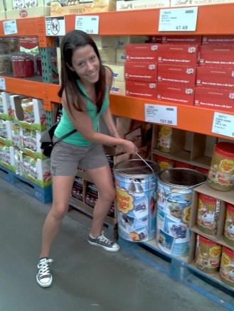 My friend Raquel vs the bucket of Chupa Chups