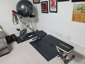 workout space in the den
