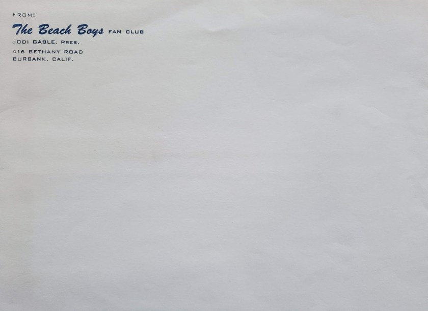 Jodi Gable Fan Club Envelope