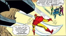 Iron Man, defeated by large magnets. (Avengers #9)