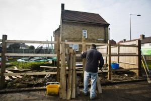 Building a fence, Manning Road/Church Elm Lane. Photo by AF Rodrigues