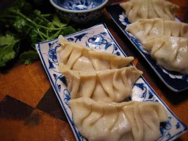 A serve of pot sticker dumplings
