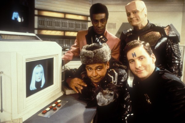 Red Dwarf - Series 4 - Picture shows: Cat (DANNY JOHN-JULES), Kryten (ROBERT-LLEWELLYN), Lister (CRAIG CHARLES) & Rimmer (CHRIS BARRIE)