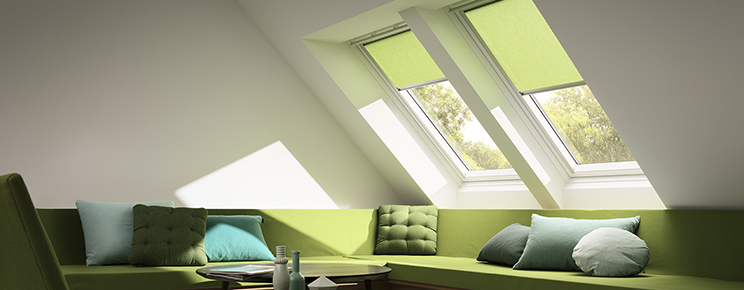 Velux Roller Blind in Green from RoofBlinds.co.uk