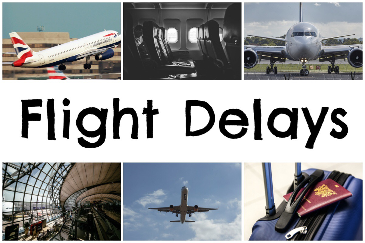 Flight Delays - header image with six photos of airplanes, airport and suitcase