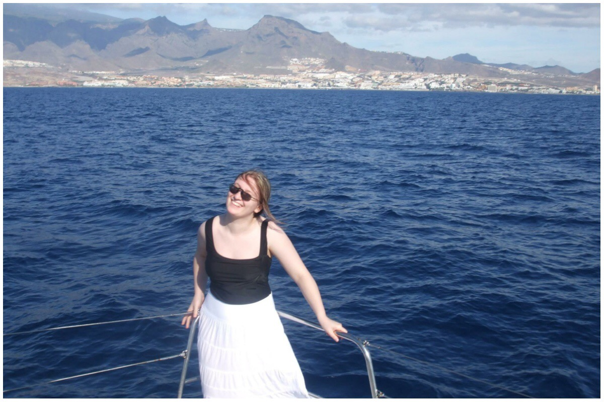 Rebecca on board the catamaran at Tenerife