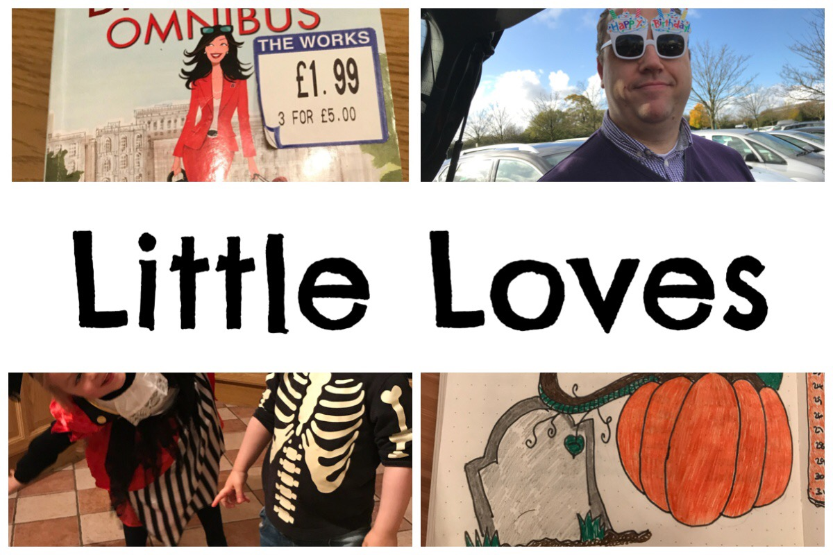 """Little Loves"" header image with the words ""little loves"" together with photos of a book, my husband, my girls in costume and my pumpkin doodle"