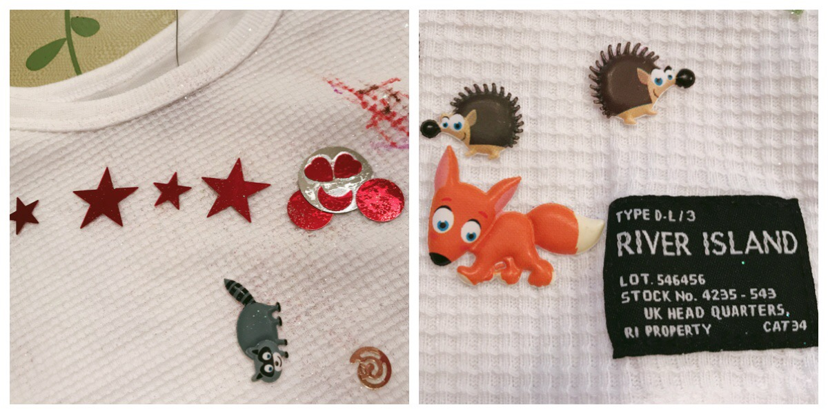 My favourite pieces - sequins arranged to look like Dizzy from the computer game. And a fox animal sticker next to the River Island tag