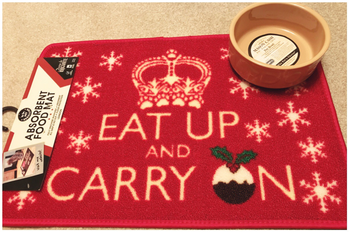 Eat Up and Carry On Christmas themed mat and dog bowl