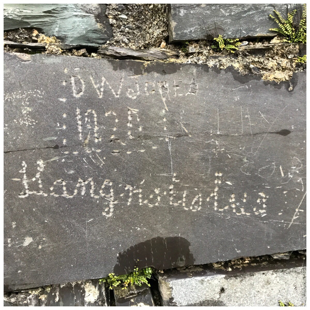 A name etched into the slate at Anglesey Barracks