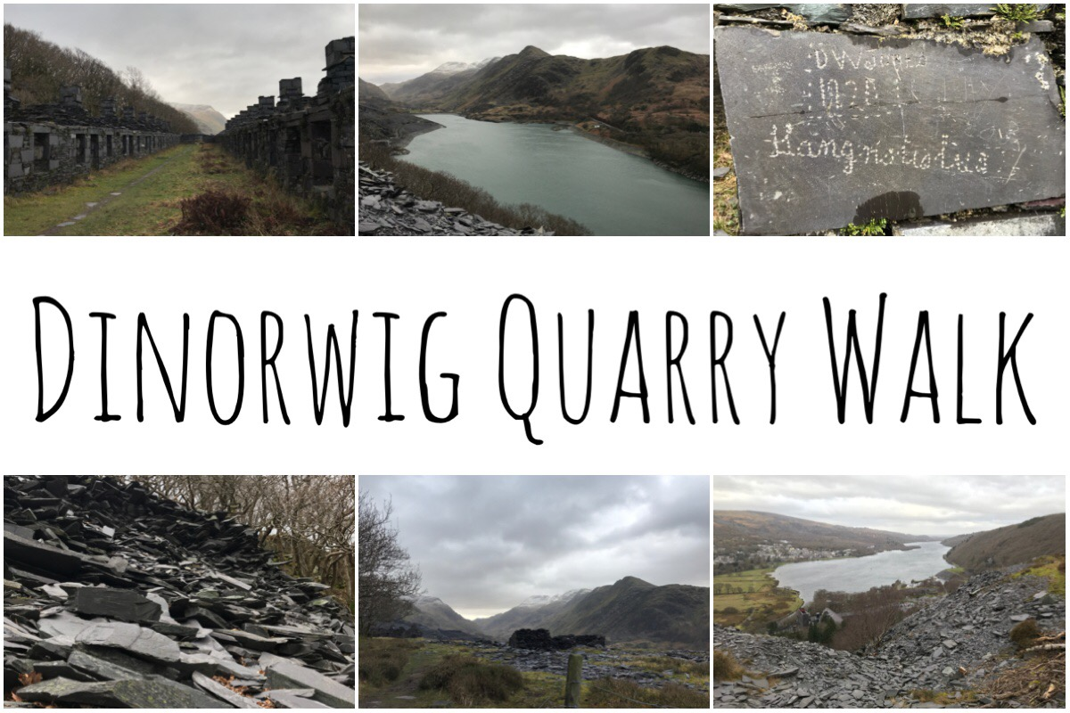 Dinorwig Quarry Walk header images with 6 different scenic views from the walk.