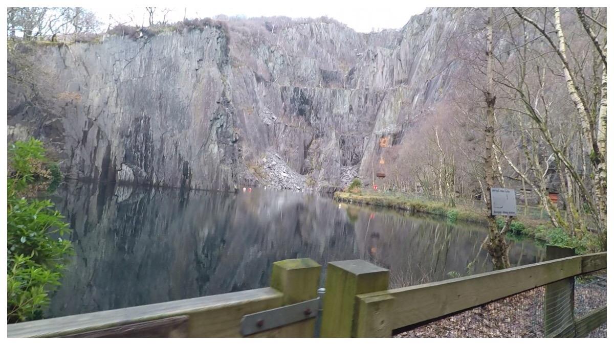 The lake and impressive slate edges at Vivian Quarry