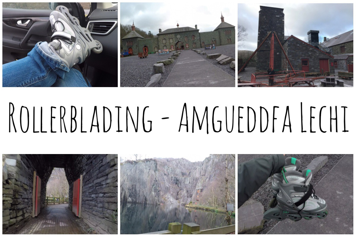 Header image including six photos - two of my rollerblades, two of the slate museum, two of Vivian Quarry