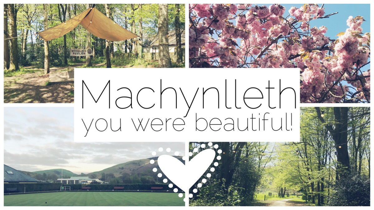 Four scenes from beautiful Machynlleth - the woodland pavilion, pink cherry blossom trees, wooded pathway, the view from Machynlleth Bowling Club