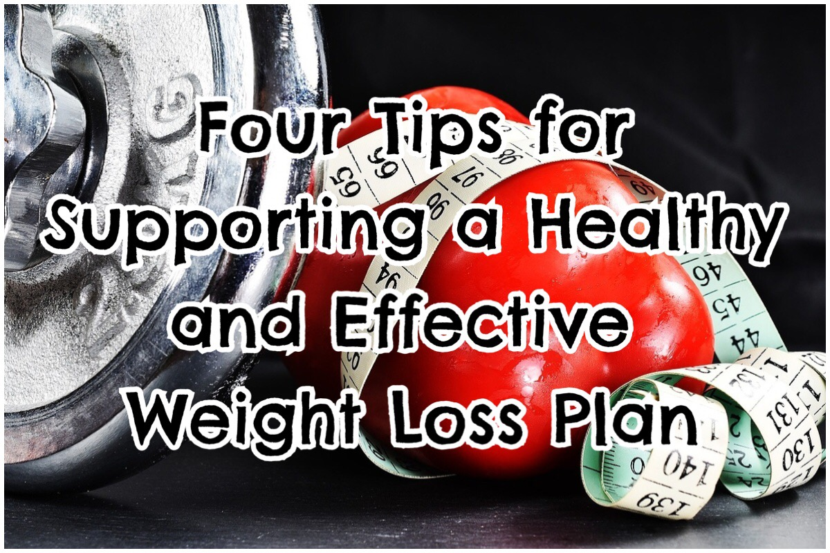"""Header image with the words """"four tips for supporting a healthy and effective weight loss plan"""" in big bold letters overlaying an image of weights, a red pepper and measuring tape"""