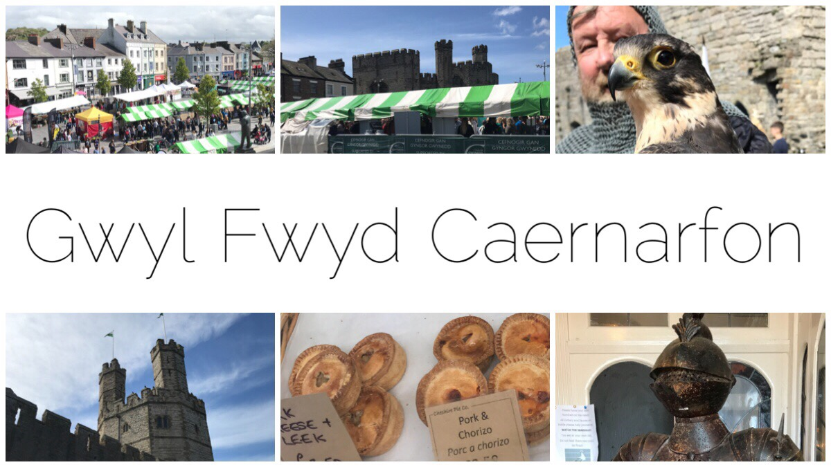 Six photos from Gwyl Fwyd Caernarfon including Y Maes with all the stalls, the castle, a bird of prey, a suit of armour and some lovely pork pies