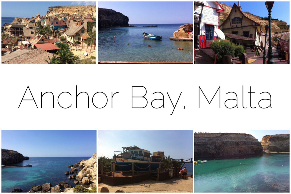Anchor Bay, Malta - six different images from Anchor Bay including the Popeye village, a boat on the water, one of the Popeye buildings, Popeye's boat and the view to sea