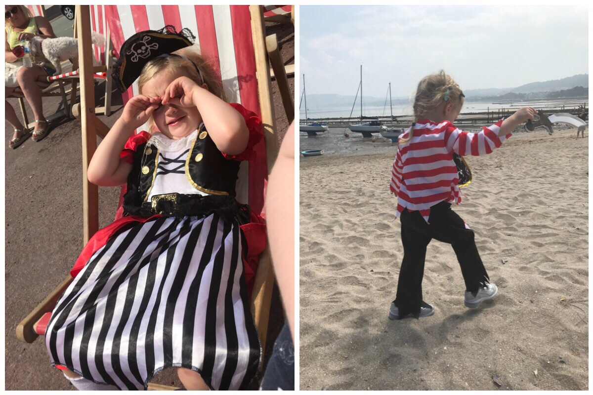The girls dressed in their pirate costumes