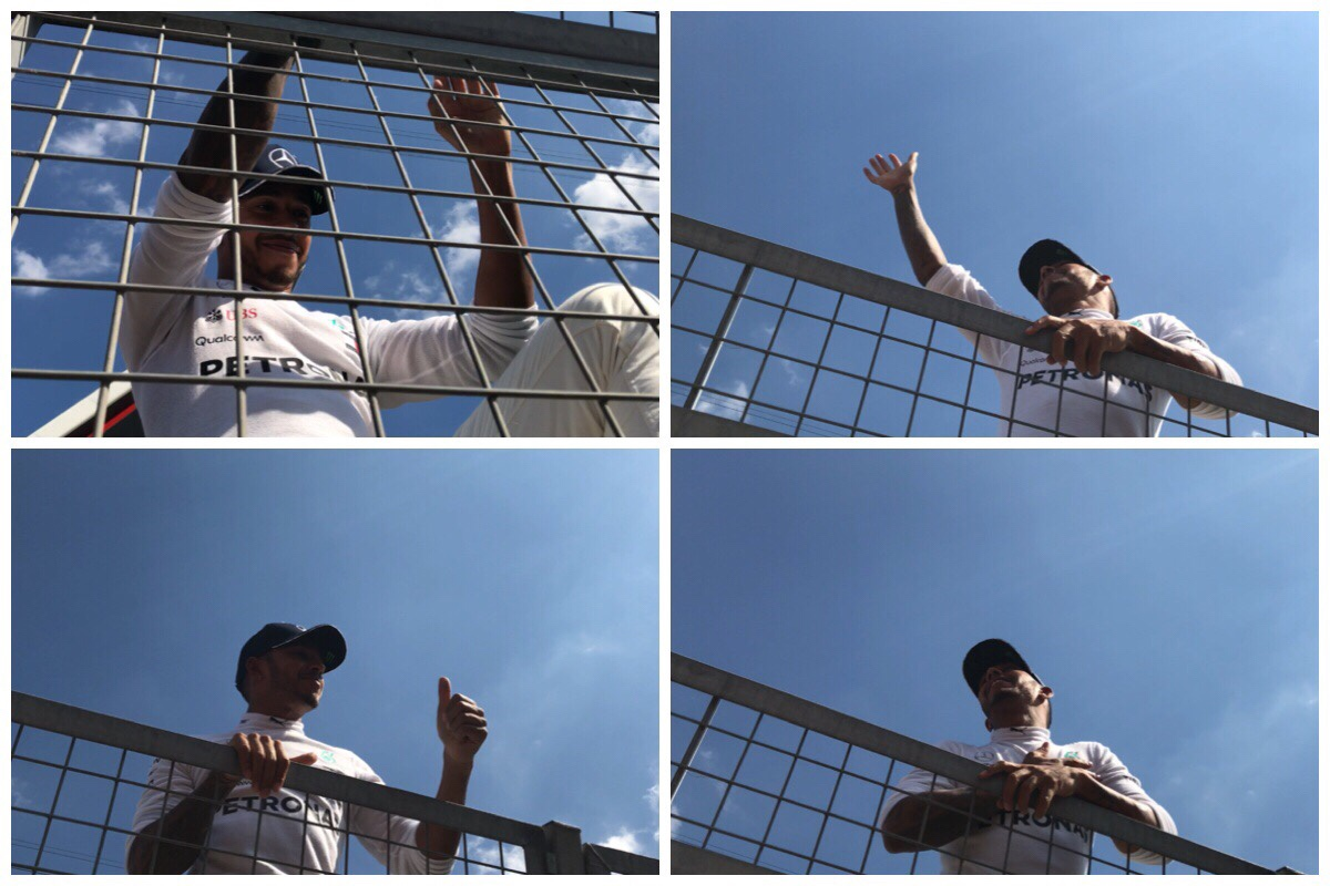 Four different shots of Lewis Hamilton post race as he came to wave to the fans gathered on track