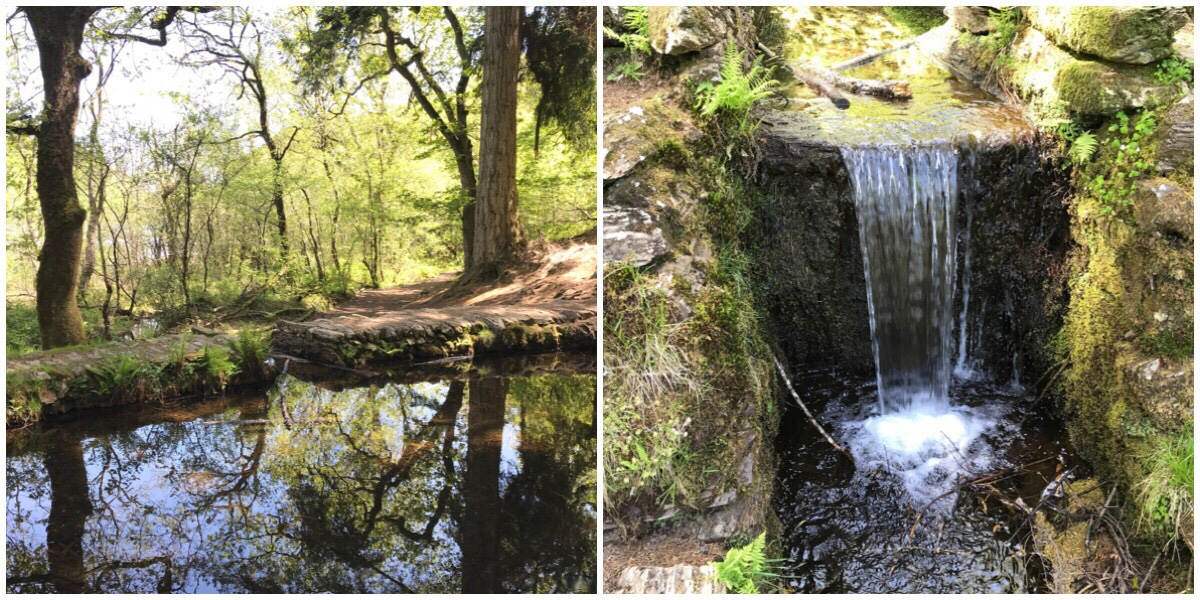 Two photos of the mini lake around Llyn Mair including the waterfall