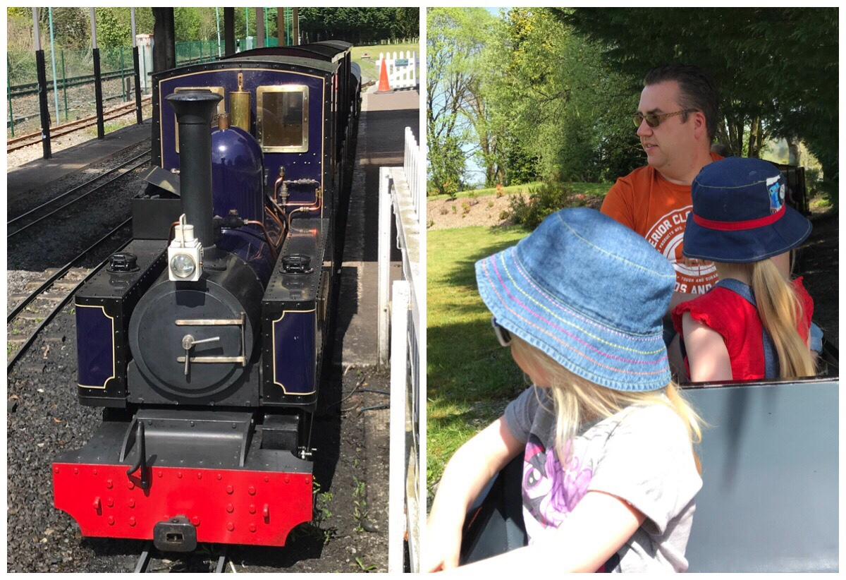 On the left a photo of the mini steam train sat at the station / On the right a photo of the girls and Dadi on the train