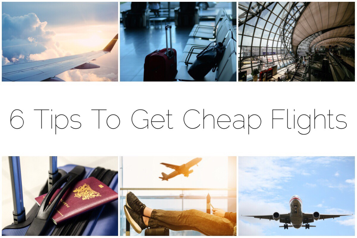 Cheap Flights header image - six different thumbnail images of airplanes, suitcases and airport scenes
