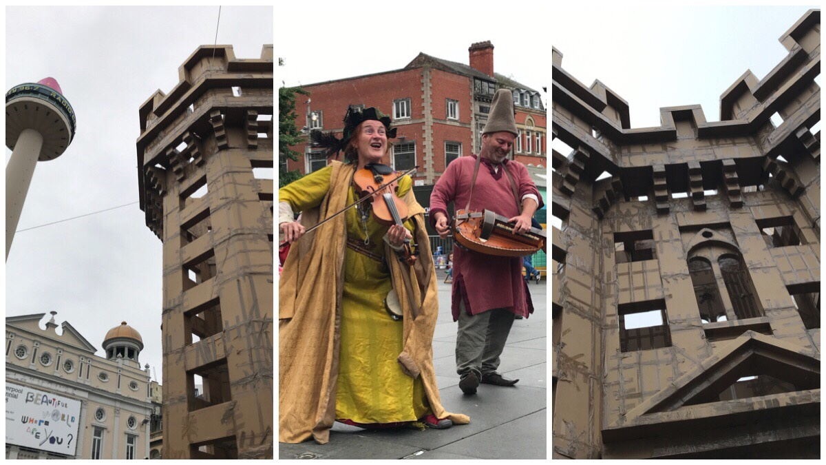 Three images from the Williamson Square Liverpool castle including the entertainment