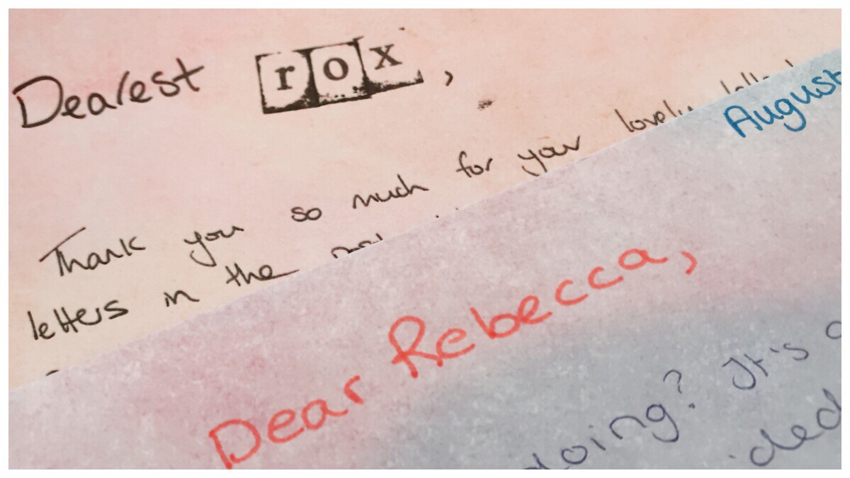 Close up photo of letter received and letter to Roxanne