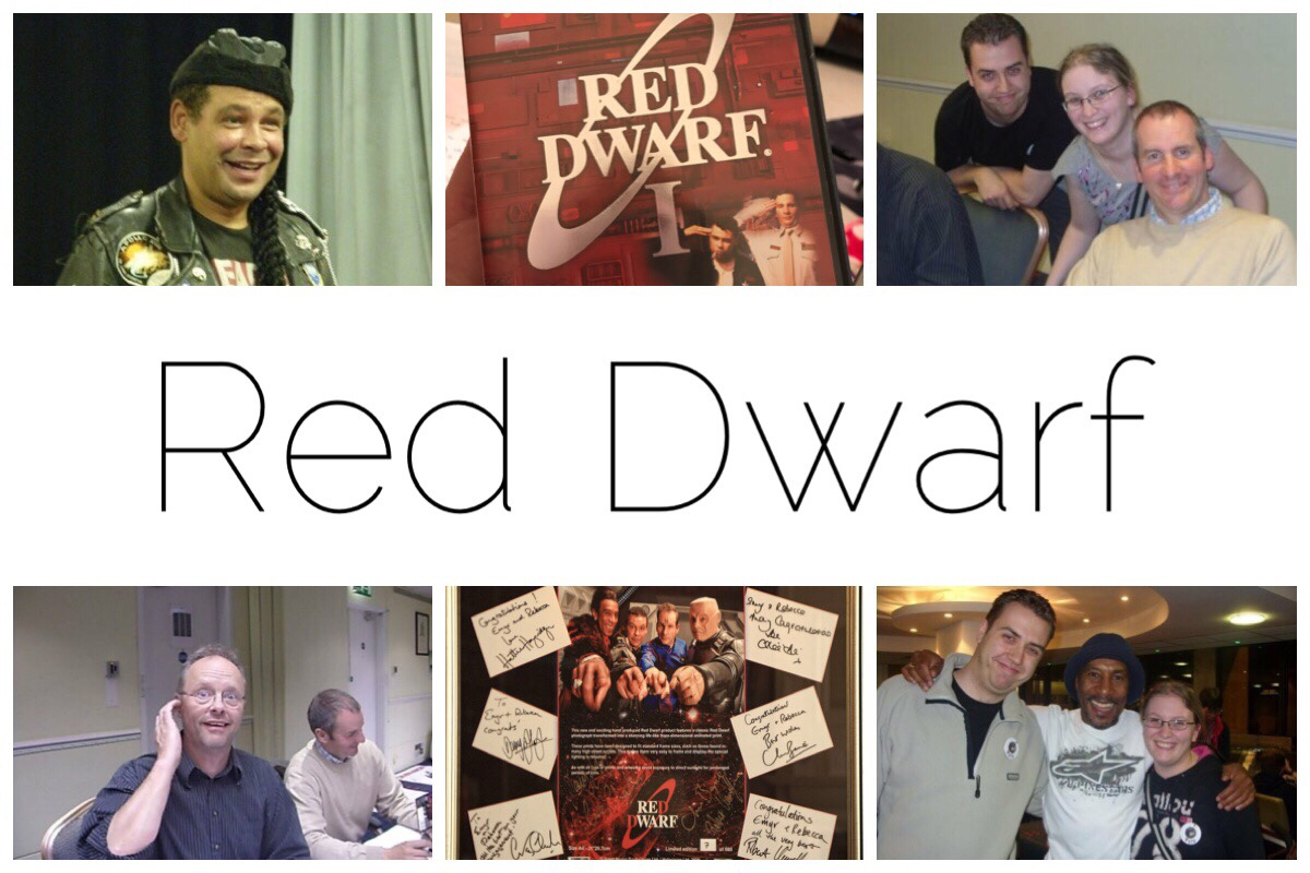 HEader image with six photos including us with the cast members during the Red DWarf convention in 2009
