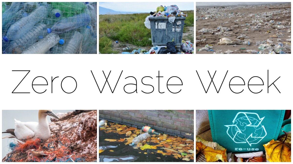 Zero Waste Week - 6 different images of plastic waste and recycling