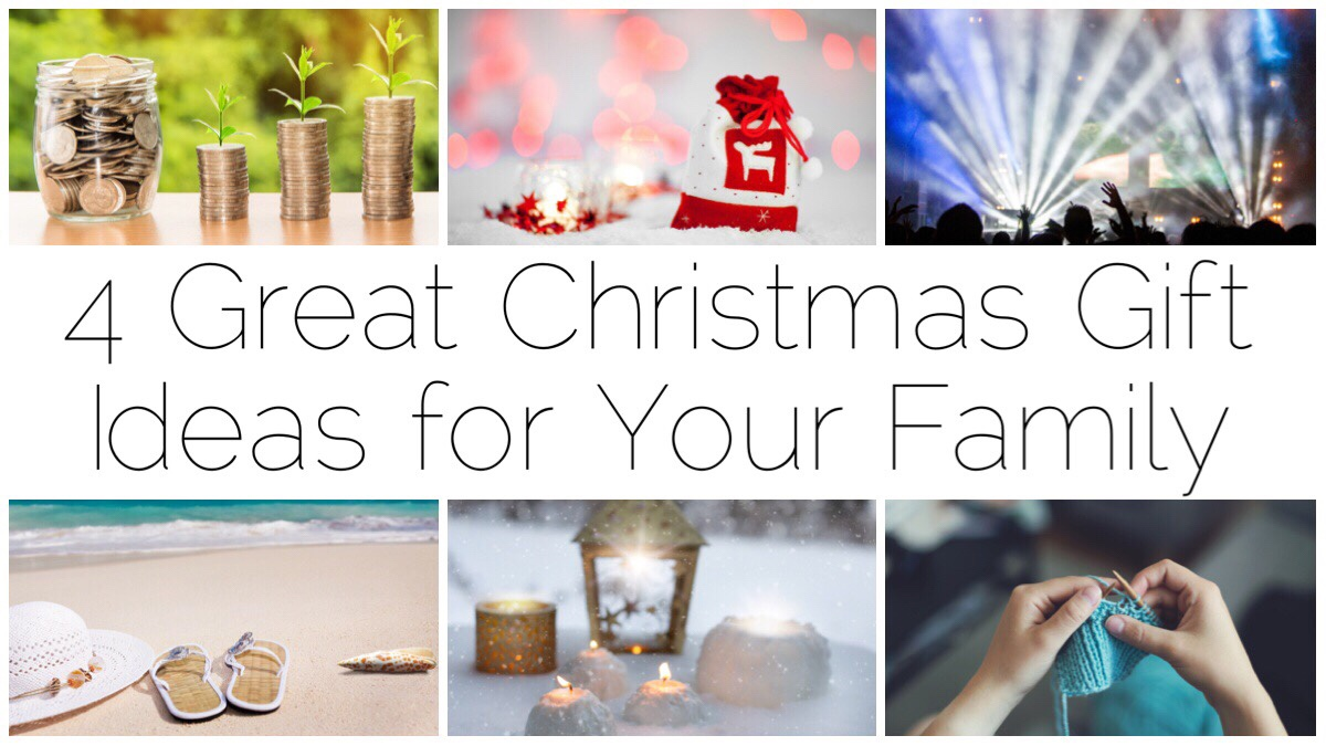 Six different images of Christmas gift ideas oncluding homemade items, concert ticket, beach holiday