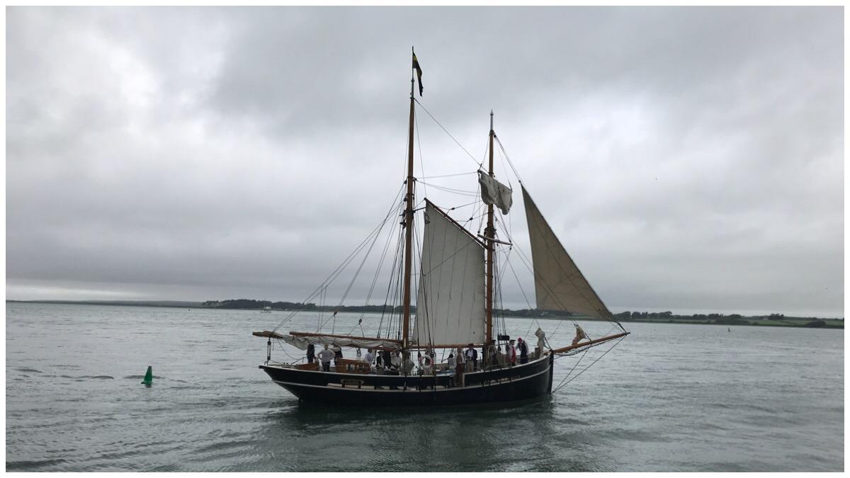 A tallship taking to the seas during the Caernarfon Pirate Weekend