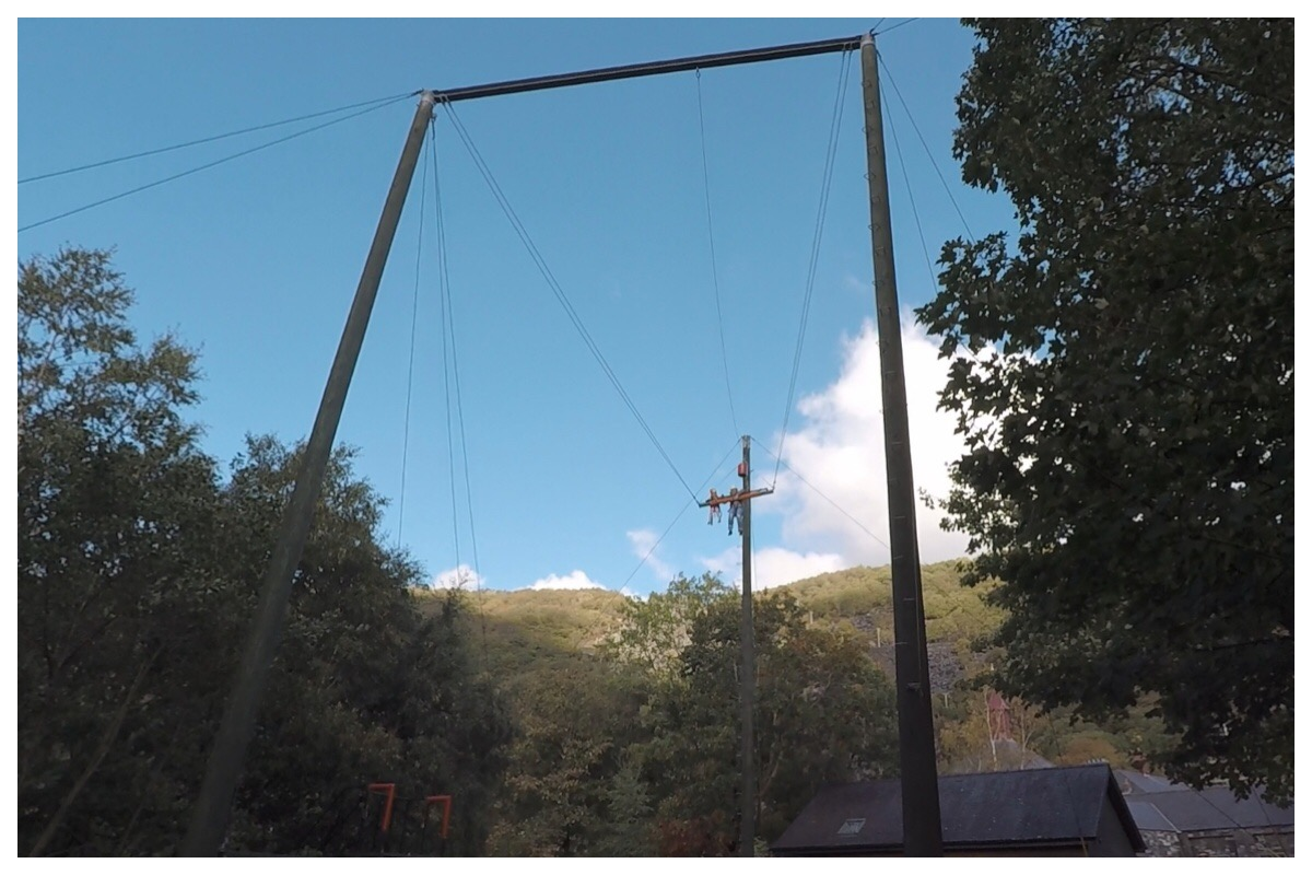 Little Miss and I on the big swing at Ropeworks Active. You can just about see our silhoutte against the bright blue sky