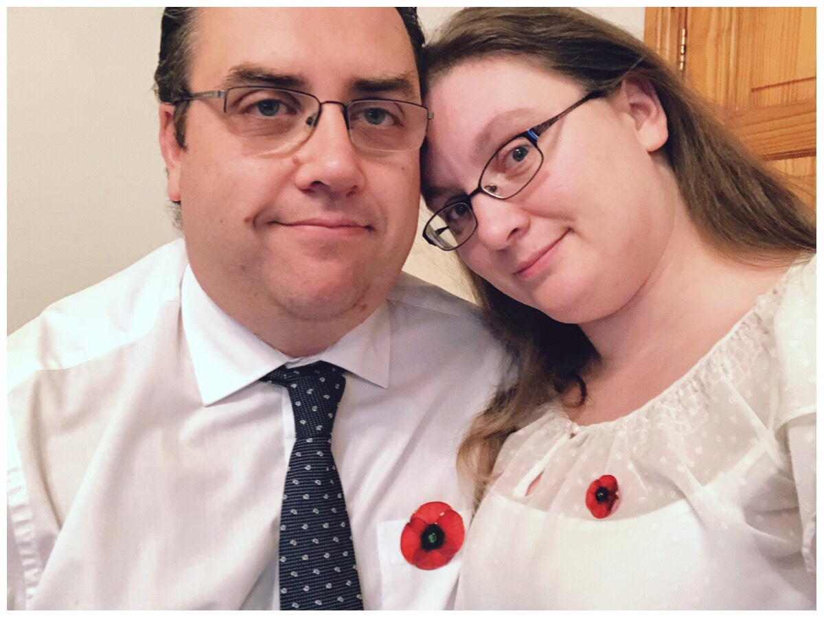 Pictured is the husband and I wearing the his and hers poppy brooches by Acdria
