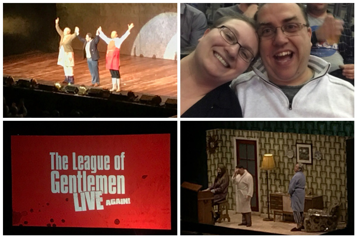 Four photos from The League of Gentlemen Live Again Tour - the gents on stage dressed as Tubbs, Edward and Hilary Briss / Me and he husband / the gents doing a scene at the Denton household / the TLOG logo