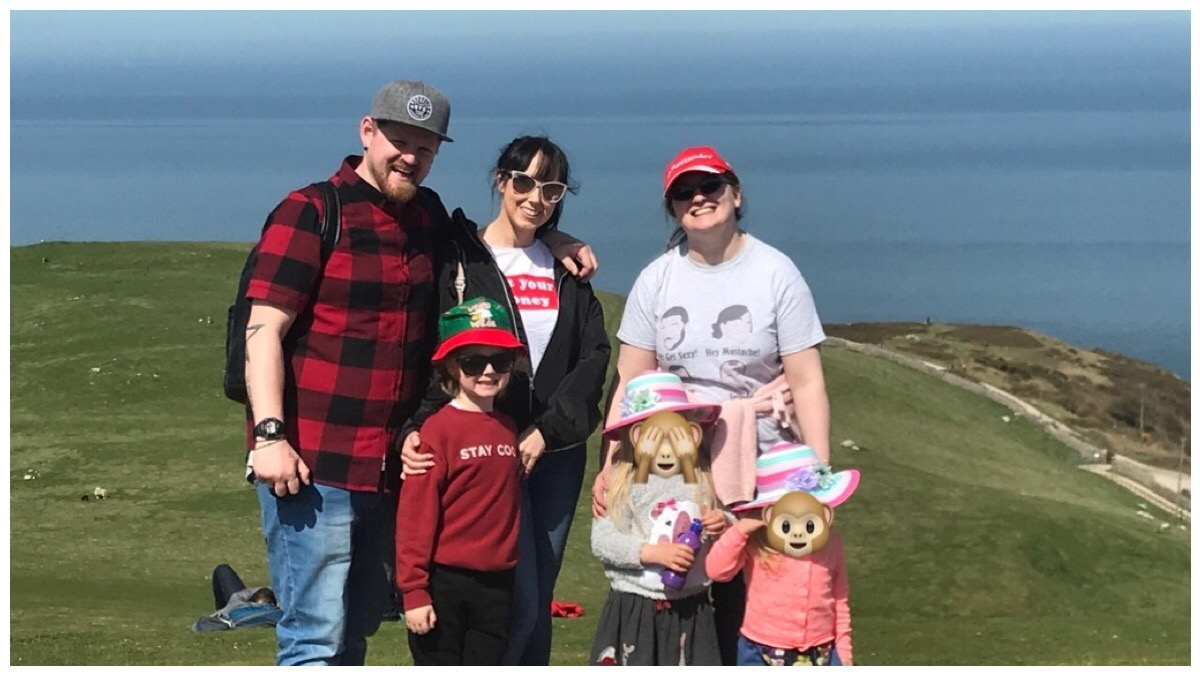 Me and the girls with David, Donetta and Corben on top of the Great Orme