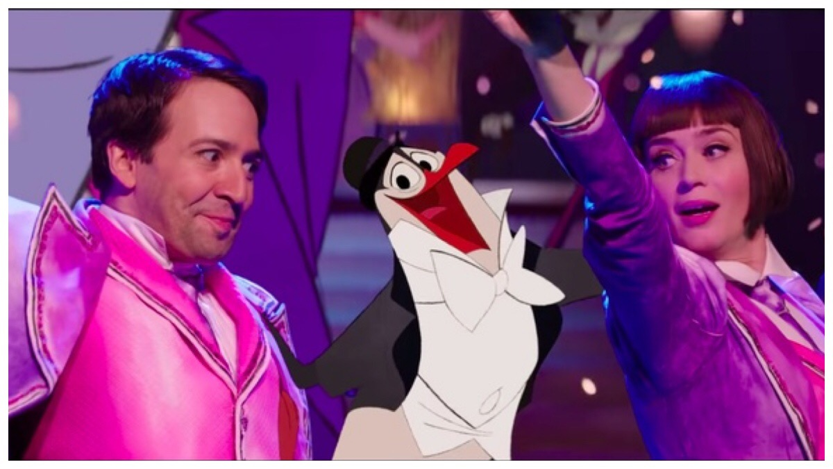 Lin-Manuel Miranda and Emily Blunt as Jack and Mary Poppins dancing with an animated penguin