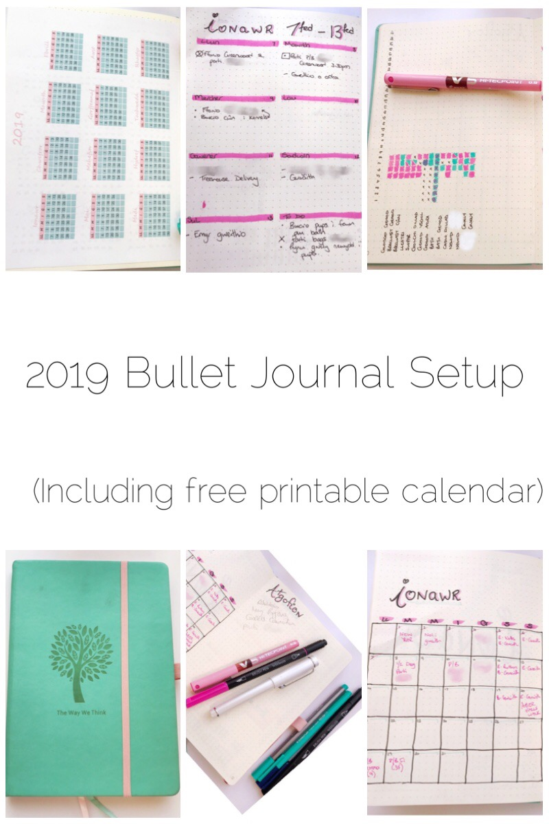 My 2019 Bullet Journal setup including a free printable calendar.