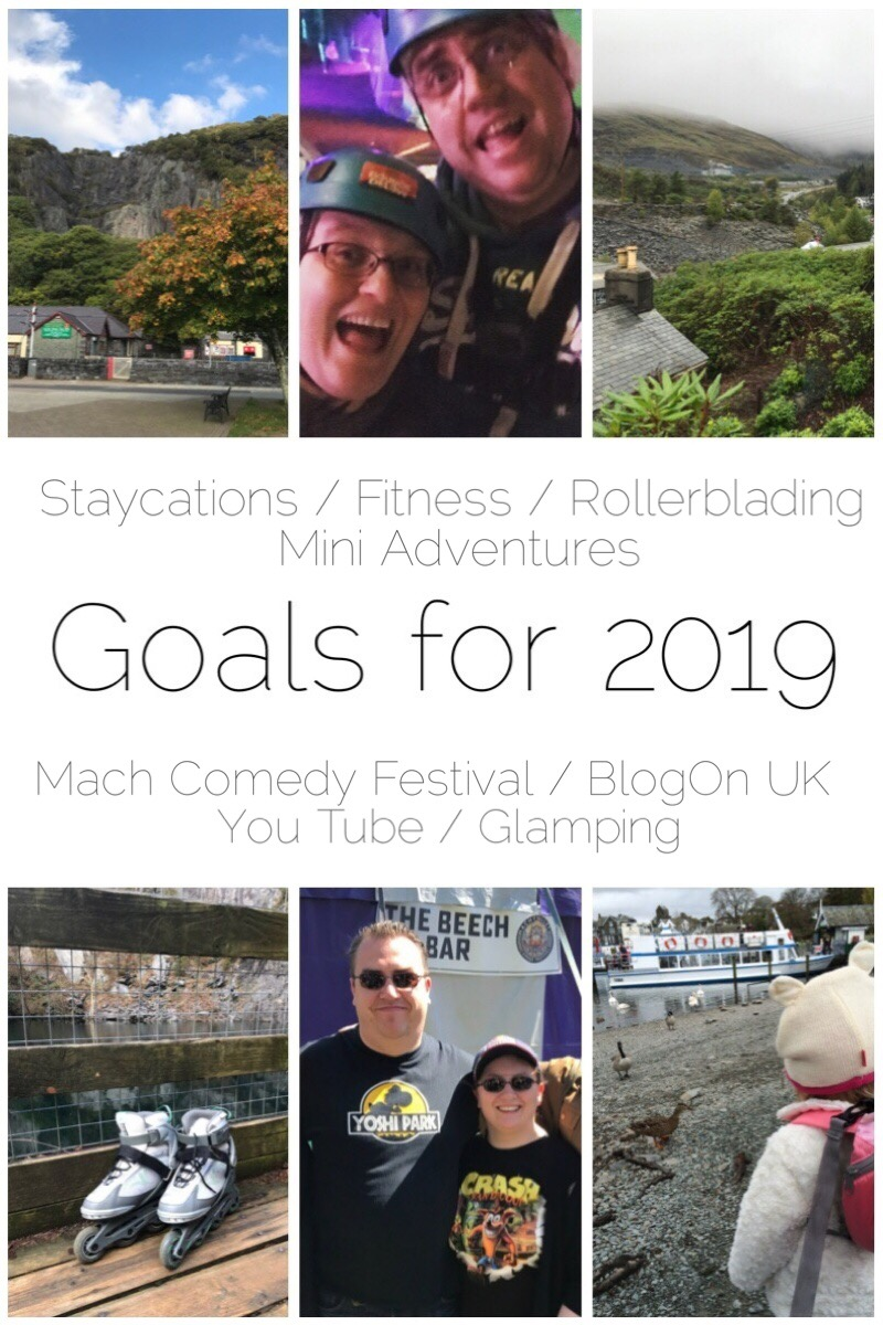 My goals for 2019 which include going rollerblading once a month, going to Machynlleth Comedy Festival, going glamping, have more staycations, improve my fitness, develop my YouTube and have lots of mini adventures! What are your goals?