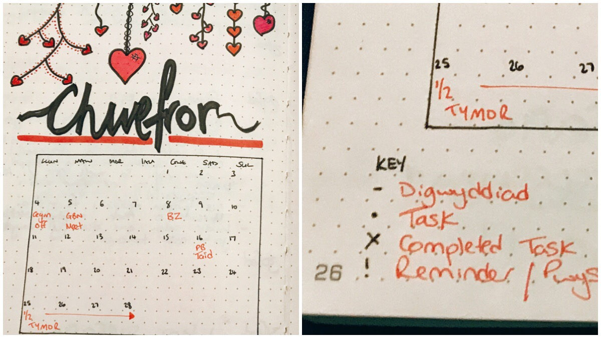 On the left us my cover page for February which includes the calendar / on the right is a photo of the key for my bullet journal