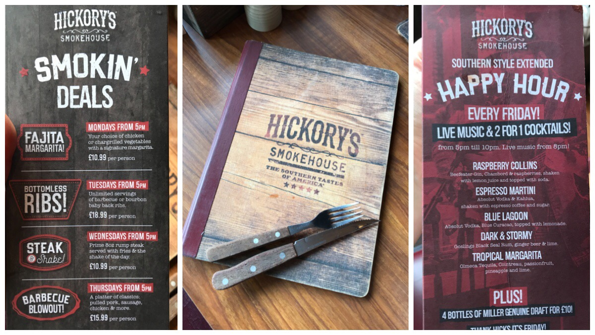 The weekday deals at Hickory's and a photo of the menu