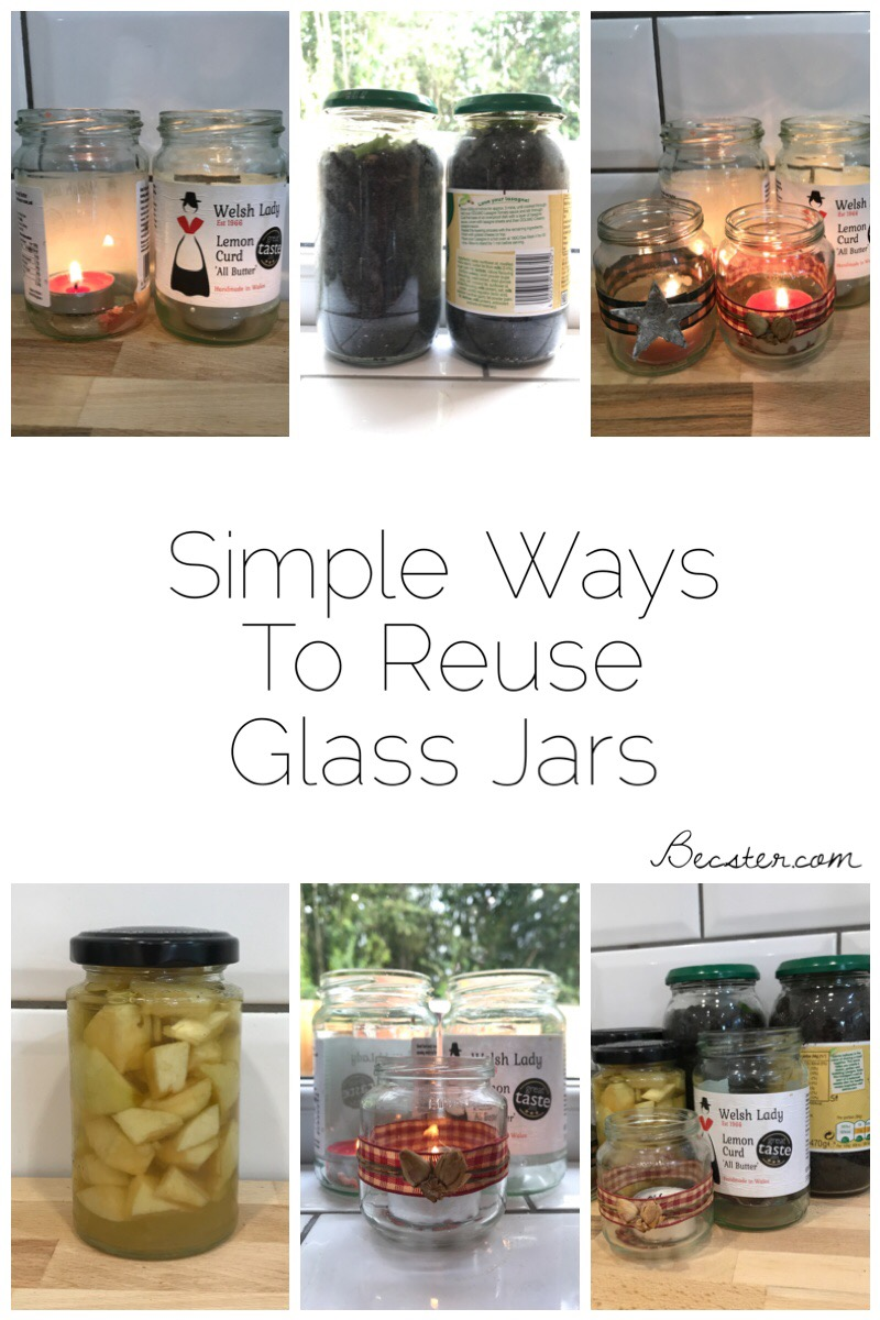 Simple Ways to Reuse Glass Jars including food storage, candle holders, mini wormeries
